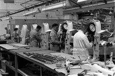 England, 1956, Scooter manufacturing, Workers are pictured on the factory floor