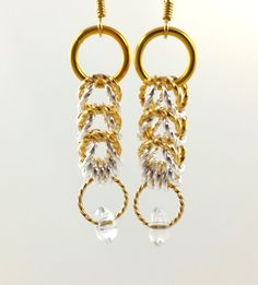 Silver and Gold Chainmaille Earrings by AndrassidyDesigns on Etsy