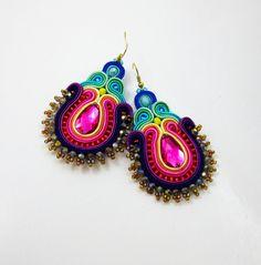 Soutache Earrings,Big folk earrings  ,soutache jewelry in ethnic, 100%…