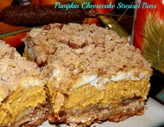 Pumpkin Cheesecake Streusel Bars- These are wonderful! Even my non cheesecake liking husband loved them. Creamy, sweet and spicy, crunchy from the crumbs, this dessert has something for everyone. http://www.fromcupcakestocaviar.com/2013/10/02/pumpkin-cheesecake-streusel-bars/