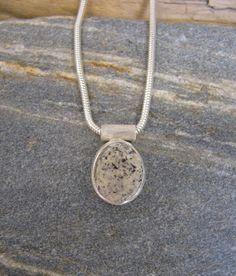 Small White Granite Oval Pebble Pendant