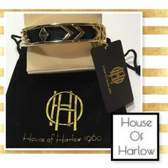 Gorgeous House Of Harlow bangle House of Harlow beautiful bangle. Gold tone with black leather inset. Iconic House of Harlow  Art Deco style. Gorgeous!  Pictures show design as it goes around bangle. Listing is for one bangle. All pictures show same bracelet. Bangle is gold tone House of Harlow 1960 Jewelry Bracelets