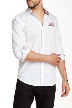 Dot Print Woven Long Sleeve Shirt