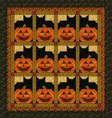 halloween theme quilt blocks | Pumpkin Cats | Quilt Patterns & Blocks | Angie's Bits 'n Pieces