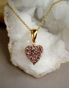 Druzy Necklace Rose Gold Drusy Quartz Heart by julianneblumlo, $64.00