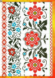 Gallery.ru / Фото #2 - mini Рушники №233(17) 2015 - irinask Towel Embroidery, Vintage Embroidery, Ribbon Embroidery, Cross Stitch Embroidery, Embroidery Patterns, Cross Stitch Borders, Cross Stitch Flowers, Cross Stitching, Molde