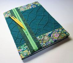 Refillable Fabric Journal Cover / Blank Book Lined Composition Notebook - Teal Circles