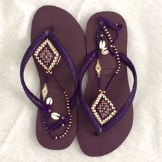 Stunning BOHO decorated Purple & Gold beaded Havaianas flip flops sandals You can decorate your hands ears neck- but also  your foot!  These are