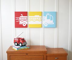 Image of Fire Engine Stretched Canvas Artwork