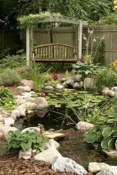Rustic Swing by Water Garden