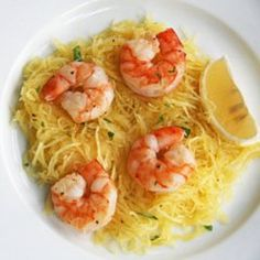 Spaghetti squash with roasted shrimp and asparagus, in lemon olive oil dressing (with chopped parsley)