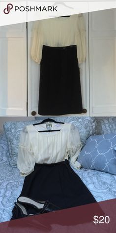 NWT Peasant dress Black and off white sheer sleeve dress, belted at waist. Romantic and elegant! Dress Barn Dresses Long Sleeve