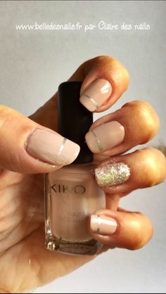#nailart de Nude et d'Argent #nail #nails #manicure #nude #argent #silver #glitter #paillettes #www.belledesnails.fr