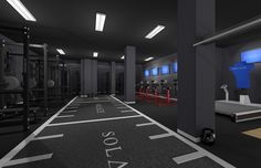 Gym Interior 3D rendering