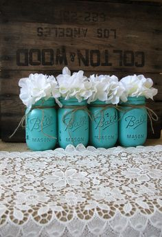 Pint Mason Jars, Painted Mason Jars, Rustic Wedding Centerpieces, Party Decorations, Turquoise Wedding