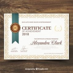 More than a million free vectors, PSD, photos and free icons. Exclusive freebies and all graphic resources that you need for your projects Certificate Of Achievement Template, Free Certificates, Certificate Design Template, Award Template, Cv Template, Vie Motivation, Certificate Of Appreciation, Business Card Design, Ui Design