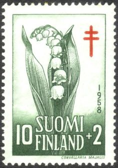 Lily of the Valley, (Convallaria majalis) –Finland, national flower. Post stamp of Finland, c. Rhyme And Reason, Flower Stamp, Vintage Stamps, Lily Of The Valley, Red Cross, Mail Art, Flora, Cards, Nostalgia