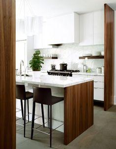 White kitchen & wood accents//