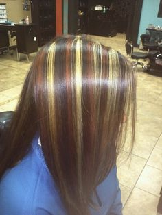3 color highlights(goldwell colorline) 6ro, 2n, and 9gn done by me Dominic Wahl
