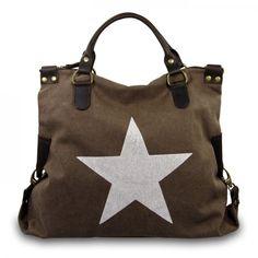 mynewbag.de - #IO.IO.MIO. Ital. Damentasche Leder Canvas Mix großer #Shopper #Stern braun