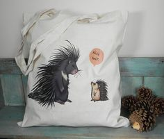 What would a hedgehog think if he came face to face with a porcupine? A little outdone I expect.    This is a high quality 100% cotton tote bag with