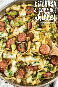 Kielbasa and Cabbage Skillet with Dijon Vinaigrette - Budget Bytes - - This Kielbasa and Cabbage Skillet is a fast and hearty weeknight dinner full of fiber and flavor! Serve with noodles or as is for a lower carb meal. Pork Recipes, Low Carb Recipes, Diet Recipes, Cooking Recipes, Healthy Recipes, Cheap Recipes, Tasty Recipes For Dinner, Dinner Healthy, Family Recipes