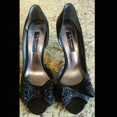 NINA NEW YORK OPEN TOE HEELS Worn 1x Gorgeous black heels with beautiful bows on front. Open toe heels  Excellent condition  Stunning for a night out❤❤✌ NINA NEW YORK Shoes Heels