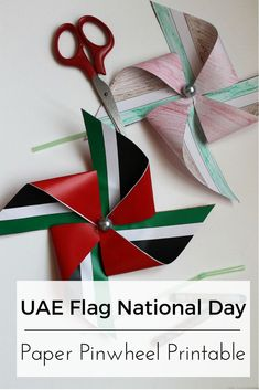 Join in the festive spirit with this simple and creative DIY tutorial and make your own UAE National Day Flag Paper Pinwheel. Templates Printable Free, Free Printables, Kuwait National Day, Art For Kids, Crafts For Kids, Holiday Club, National Flag, National Days, Flag Art