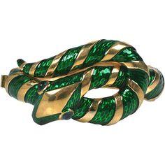 Preowned Trifari Enamel Snake Bangle featuring polyvore, women's fashion, jewelry, bracelets, black, imitation jewelry, fake jewelry, cabochon jewelry, enamel bangle bracelet and enamel jewelry