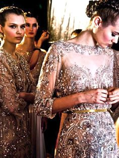 Jewelled bridesmaid dresses! Elie Saab Backstage. (PS follow The LANE on instagram: the_lane)