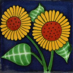 Traditional Decorative Mexican Sunflower Tile