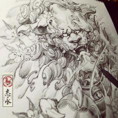 Foo Dog Tattoo, C Tattoo, Fu Dog, Ink Painting, Nirvana, Chinese Art, Art Pieces, Drawings, Instagram