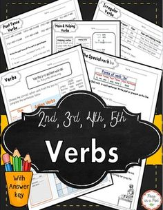 This verbs pack covers action verbs, the special verb be, main verbs… Parts Of Speech Activities, Parts Of Speech Worksheets, Grammar Worksheets, Good Grammar, Grammar Lessons, Types Of Verbs, Irregular Past Tense Verbs, Nouns And Verbs, Verb Tenses