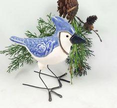 Bird Sculpture, Animal Sculptures, Blue Jay Bird, Floral Texture, Ceramic Birds, Paper Clay, Bird Art, Fire Food, Pottery