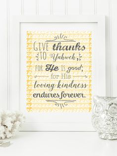 """Instant 8x10 """"Give Thanks to the Lord"""" Psalm 136:1 Digital Wall Art Print Yellow & Dark Grey"""