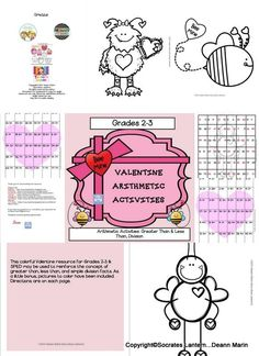 This colorful Valentine resource for Grades 2-3 & SPED may be used to reinforce the concept of greater than, less than, and simple division facts. As a little bonus, pictures to color have been included. Directions are on each page.
