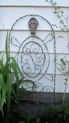 Glass Eyed Turtle Barbed Wire Trellis Garden Art Made to Order on Etsy, $72.00