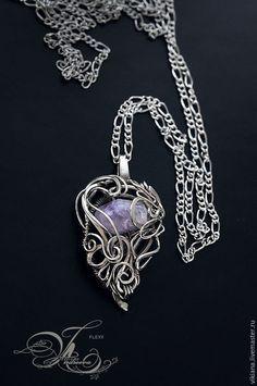 """Купить Кулон """"Floriya"""" - серебряный, сиреневый, фиолетовый, мельхиор, кулон, подвеска, на шею, на цепочке, подарок"""
