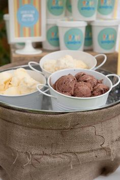 Pre-scoop ice cream into a bucket and place in large ice filled bucket for party time.