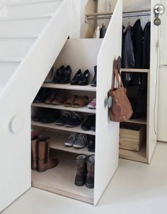Genius Under Stairs Storage Ideas For Minimalist Home 03 Garage Shoe Storage, Coat And Shoe Storage, Entryway Shoe Storage, Staircase Storage, Understairs Shoe Storage, Shoe Storage Under Stairs, Closet Storage, Under The Stairs, Hallway Shoe Storage