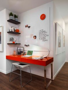 a small desk in a nook