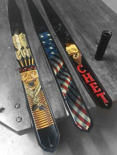 I made these straps for the guys of 3 Doors Down. #guitar #guitarstrap #leathercraft #3doorsdown