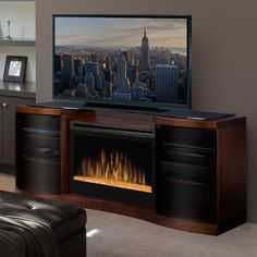 Dimplex Acton Walnut Electric Fireplace Media Console Glass Embers - GDS33G-1246WAL