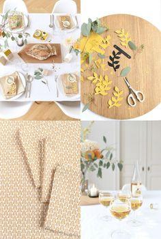 Mesa de otoño decorada en tonos mostaza