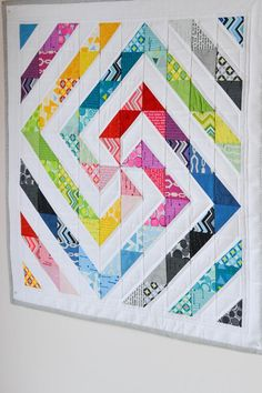 half square triangle block Down Grapevine Lane: Rainbow swirl quilt Gorgeous scrappy HST quilt--I adore the layout!--did not actually find this on the site, but it would make a great baby quilt Mais Down Grapevine Lane~~What a fun and beautiful layout for Scrappy Quilts, Easy Quilts, Mini Quilts, Patchwork Quilting, Modern Quilting, Hand Quilting, Quilt Blocks Easy, Modern Quilt Blocks, Block Quilt