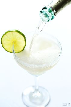 Champagne Margaritas: 1 1/2 cups fresh lime juice 1 cup agave silver tequila 1 cup Triple Sec or Cointreau 1 bottle (750 mL) champagne (about 3 cups) lime wedges and coarse salt or sugar to rim the glasses