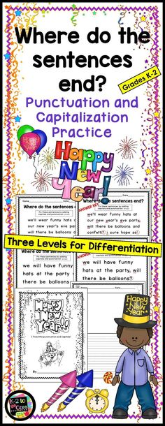 Provide your students with capitalization and punctuation practice with these differentiated editing and writing practice sheets. Each page has two or three New Year's-themed sentences with missing capitals and punctuation. Your students' job is to figure out where the sentences end, edit the sentences, and then rewrite them with correct capitalization and punctuation, as well as neat handwriting.