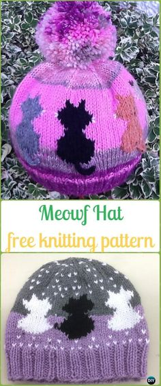 Knit Meowf Hat Free Pattern - Fun Kitty Cat Hat Free Knitting Patterns Fun Kitty Cat Hat Knitting Patterns Free and Paid Size Baby to Adult, Knit Cat Ear Hat; Cable Cat Hat, Cat White Whiskers Hat and Baby Knitting Patterns, Knitting For Kids, Knitting For Beginners, Knitting Designs, Free Knitting, Knitting Projects, Loom Patterns, Stitch Patterns, Mittens Pattern