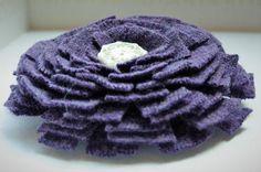 Purple Felt Flower Pin Brooch in Vintage Merino by WoolenBlooms