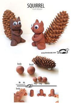 DIY playdough squirrel